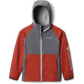 Columbia Rocky Range Chaqueta Softshell Niños, shark heather/carnelian red/columbia grey